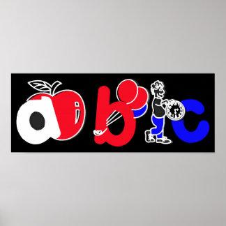 Rood, Wit, Blauw & Zwart, het Logo van het Alfabet Afdruk