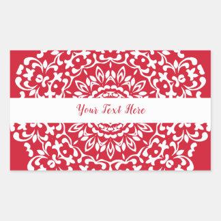 Rood Wit Elegant Elegant Gepersonaliseerd Kant Rechthoekige Sticker