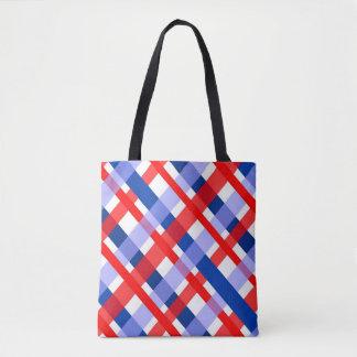 rood wit en blauw plaidpatroon draagtas