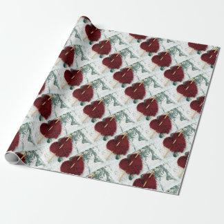 Rood wolhart op berkeschorsfoto inpakpapier
