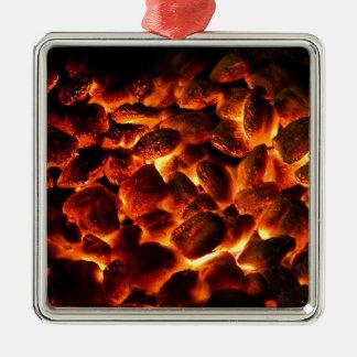 Roodgloeiende Brandende Steenkolen Zilverkleurig Vierkant Ornament