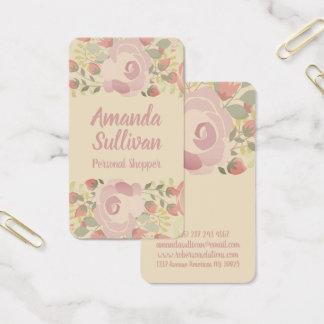 Room gekleurde bloemen visitekaartjes