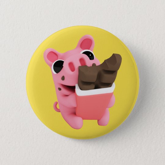 Rosa the Pig Chocolate Ronde Button 5,7 Cm
