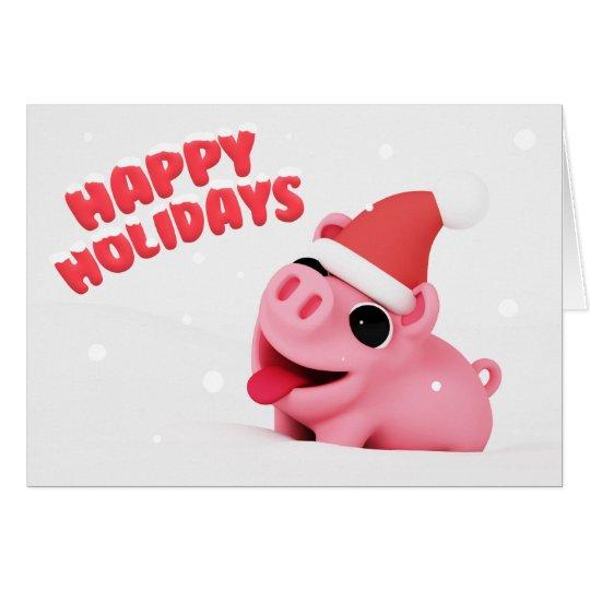 Rosa the Pig Christmas Card Kaart