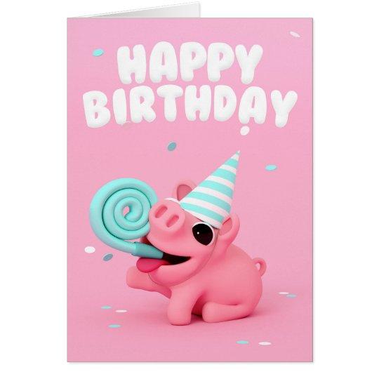 Rosa the Pig Happy Birthday card Kaart