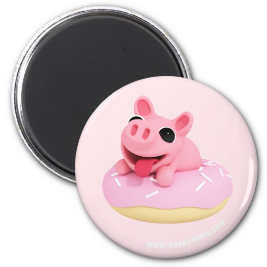 Rosa the Pig in a Donut Magneet