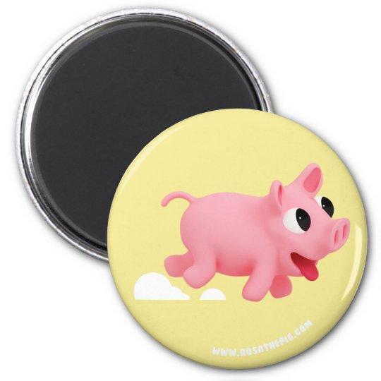 Rosa the Pig love Running Magneet