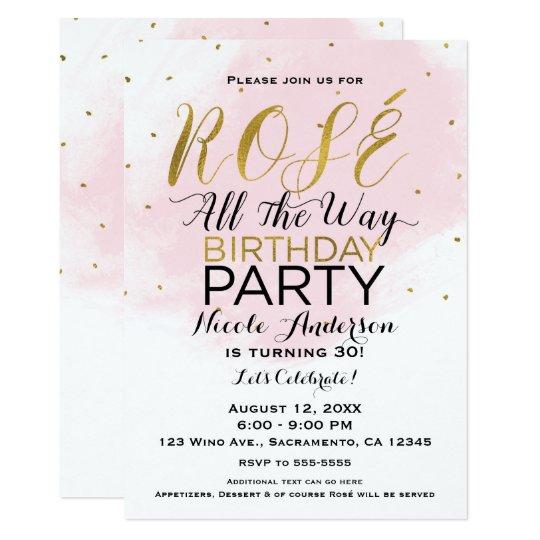 Rosé Al Roze & het Goud van de Partij van de 12,7x17,8 Uitnodiging Kaart