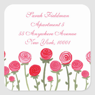 Rose Blooms White Name Address Label Sticker