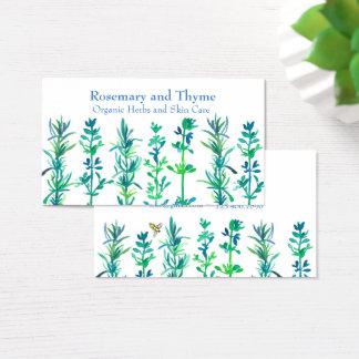 Rosemary Thyme Bee Watercolor Herbs Visitekaartjes