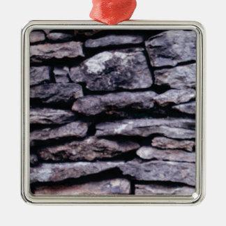 rots raadsel zilverkleurig vierkant ornament
