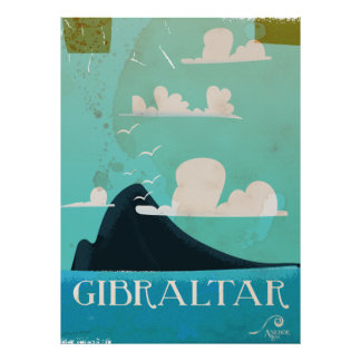 Rots van vintage de reisposter van Gibraltar Poster