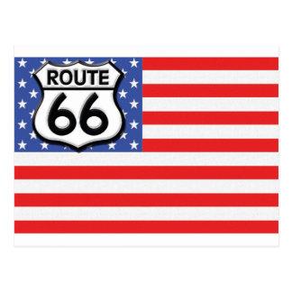 Route 66 Amerikaanse Patriottische Vlag Briefkaart
