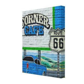 Route 66 de Muur van de Koffie van de Hoek Canvas Afdruk