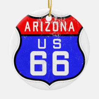 Route 66 rond keramisch ornament