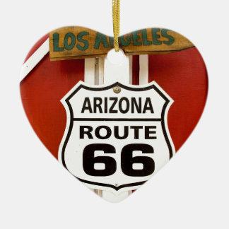 Route 66 Seligman Arizona de V.S. Keramisch Hart Ornament