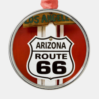 Route 66 Seligman Arizona de V.S. Zilverkleurig Rond Ornament
