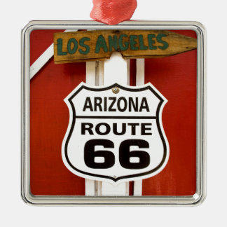 Route 66 Seligman Arizona de V.S. Zilverkleurig Vierkant Ornament