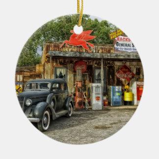 Route 66 van Arizona rustieke retro opslag Rond Keramisch Ornament