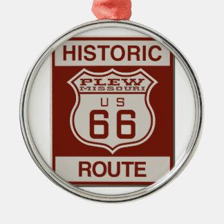 Route 66 van Plew Zilverkleurig Rond Ornament
