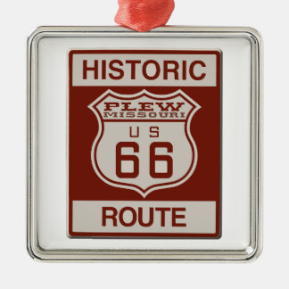 Route 66 van Plew Zilverkleurig Vierkant Ornament