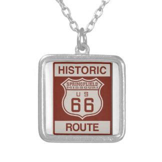 Route 66 van Springfield Ketting Vierkant Hangertje
