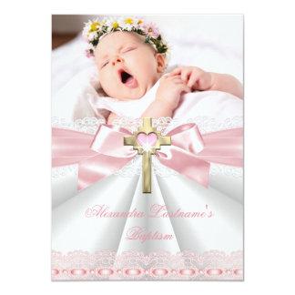 Roze 2 van de Meisjes van het Doopsel van het 11,4x15,9 Uitnodiging Kaart