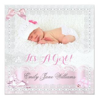 Roze 7 van de Foto van het Meisje van het Baby van 13,3x13,3 Vierkante Uitnodiging Kaart