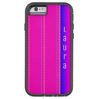 Roze aan het Blauwe Patroon van de Diamant van de Tough Xtreme iPhone 6 Hoesje