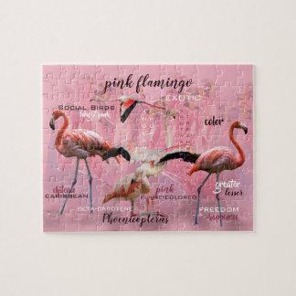 Roze Aangepaste Typografie | van de Flamingo Legpuzzel