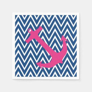 Roze Anker & de Blauwe Servetten van het Patroon Papieren Servet