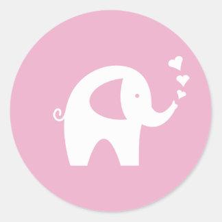 Roze baby showerstickers met leuke olifant ronde stickers