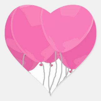 Roze Ballons Hart Sticker
