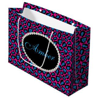 Roze & Blauwe Luipaard, de Zak van de Gift van LG Groot Cadeauzakje