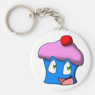 Roze/Blauwe Toon Cupcake Sleutel Hanger