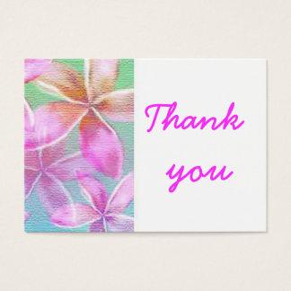 roze bloemen dankt u visitekaartjes