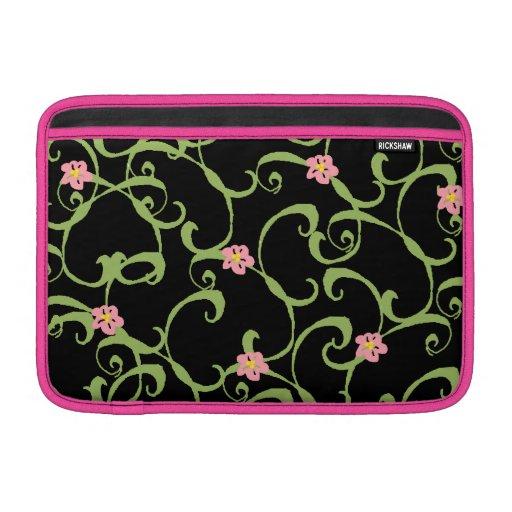 Roze Bloemen Groene Wijnstokken Beschermhoes Voor MacBook Air