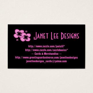 Roze Bloemen op Kaart Black~Business Visitekaartjes