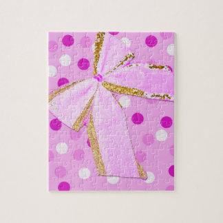Roze Boog mooie Girly op Stippen Legpuzzel
