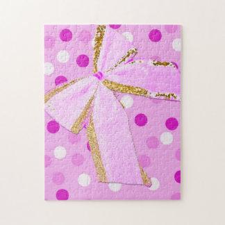 Roze Boog mooie Girly op Stippen Puzzel