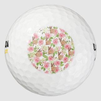 Roze bruin bloemen het konijntjeskonijn van golfballen
