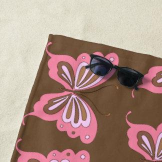 Roze Bruine Vlinder Strandlaken
