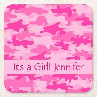 Roze Camo camoufleert Zijn een Naam van het Meisje Vierkante Onderzetter