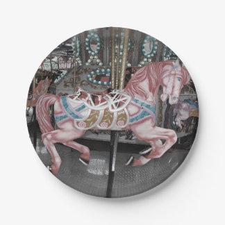 Roze carrouselpaard papieren bordje