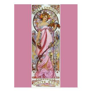 Roze Champagne - Jugendstil Briefkaart