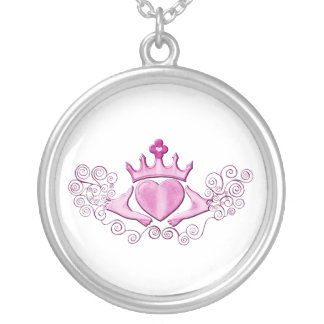 (Roze) Claddagh Ketting Rond Hangertje