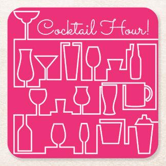 Roze cocktail party vierkante onderzetter
