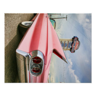 roze convertibele cadillac van 1962 poster
