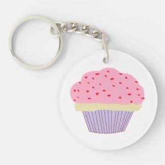 Roze Cupcake 1-Zijde Rond Acryl Sleutelhanger