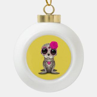 Roze Dag van de Dode Zeeleeuw van het Baby Keramische Bal Ornament